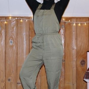 Forever 21 Cuffed Olive Green Drawstring Overalls